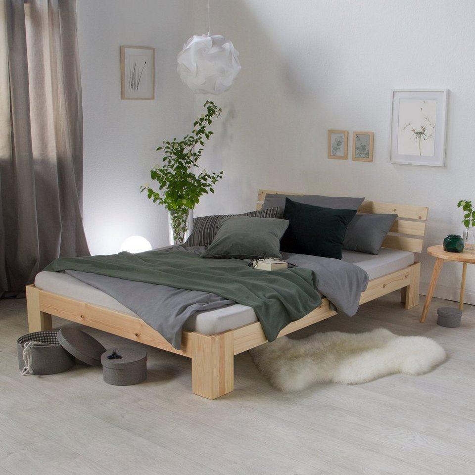 Polsterbett Stoffbett Ehebett Bettgestell 140x200 Holz natur massiv Homestyle4u