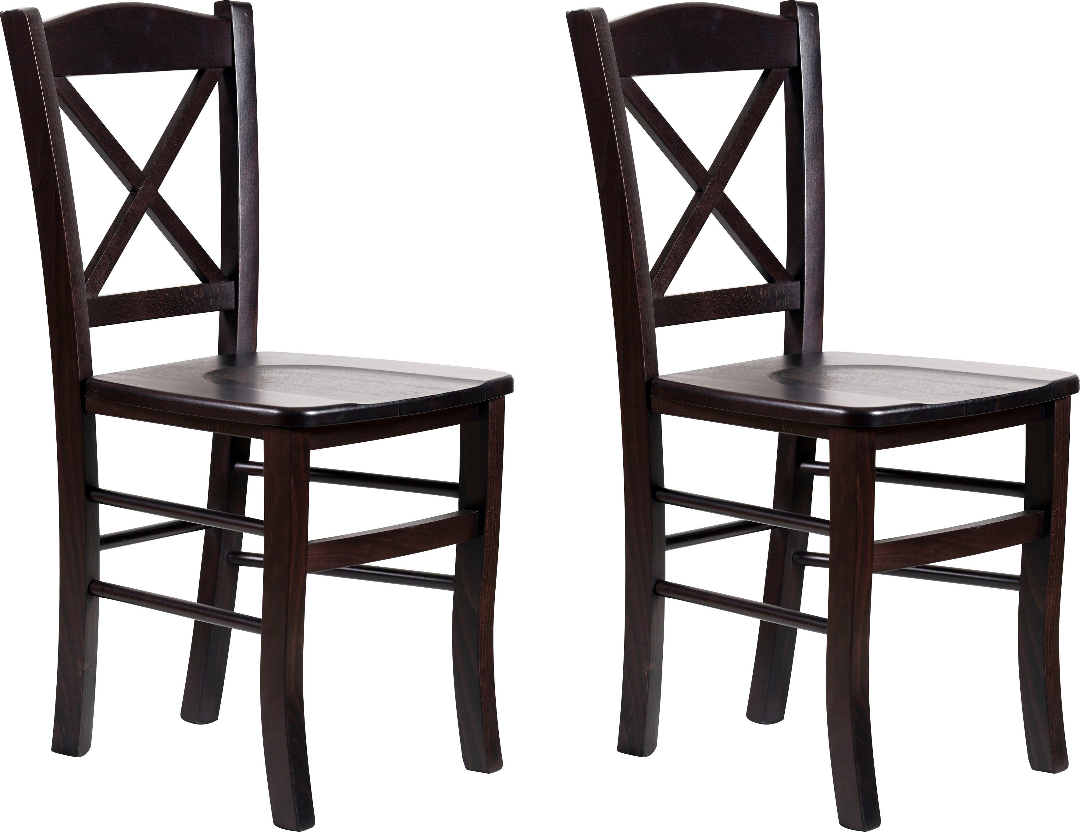 Home affaire 4-Fußstuhl Clayton beige Holzstühle Stühle Sitzbänke