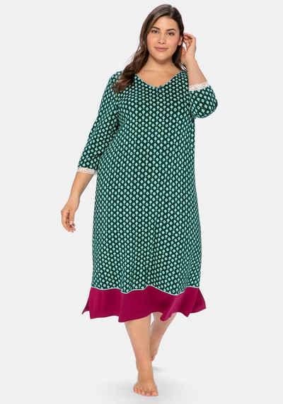 Sheego Nachthemd mit Alloverdruck und Spitze am Ärmel