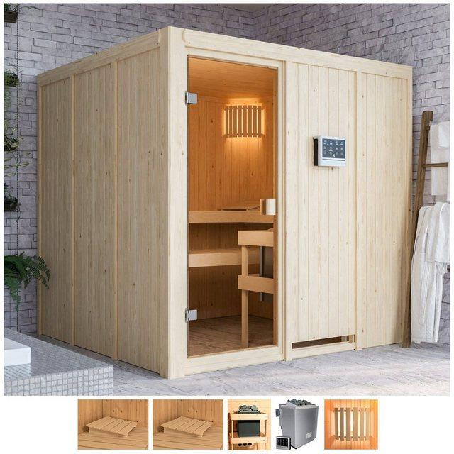 Saunen und Zubehör - Karibu Sauna »Omari«, BxTxH 196 x 196 x 198 cm, 68 mm, 9 kW Bio Ofen mit ext. Steuerung  - Onlineshop OTTO