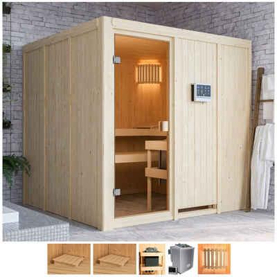 Karibu Sauna »Omari«, BxTxH: 196 x 196 x 198 cm, 68 mm, 9-kW-Bio-Ofen mit ext. Steuerung