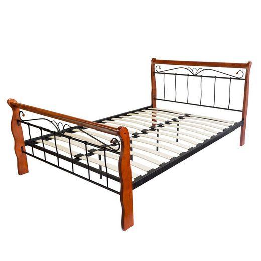 Homestyle4u Metallbett, schwarzes Doppelbett + Rollrost, verschiedene Größen