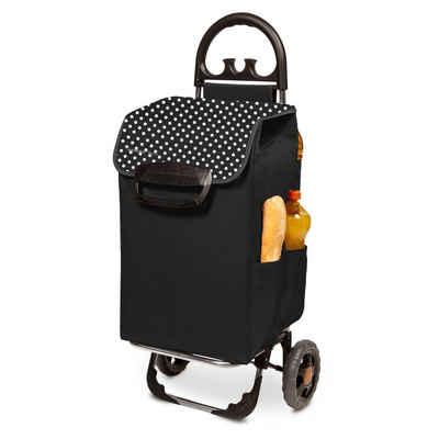 linovum Einkaufstrolley »Einkaufstrolley HIMY XL schwarz gepunktet mit 78l Fassung & Seitentaschen«