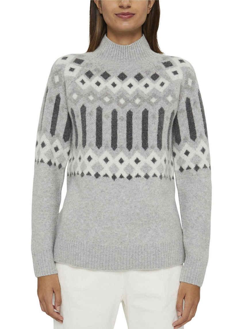 Esprit Strickpullover im trendy Norweger-Design mit Stehkragen