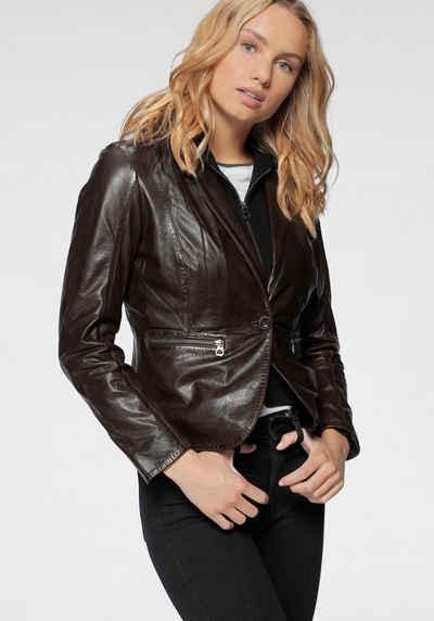 Gipsy Lederjacke »Amali« cooler hochwertiger Lederblazer im 2-in-1-Look mit Kapuze