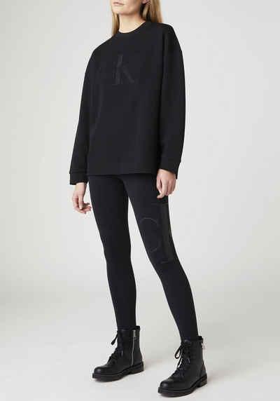 Calvin Klein Jeans Leggings »PEACHED CK LEGGING« mit großem CK Logo-Monogramm auf dem linken Bein