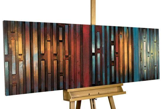 KUNSTLOFT Holzbild »Nachtschimmer«, handgefertiges Wandbild aus Holz