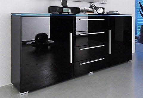 Sideboard, Breite 135 cm in schwarz