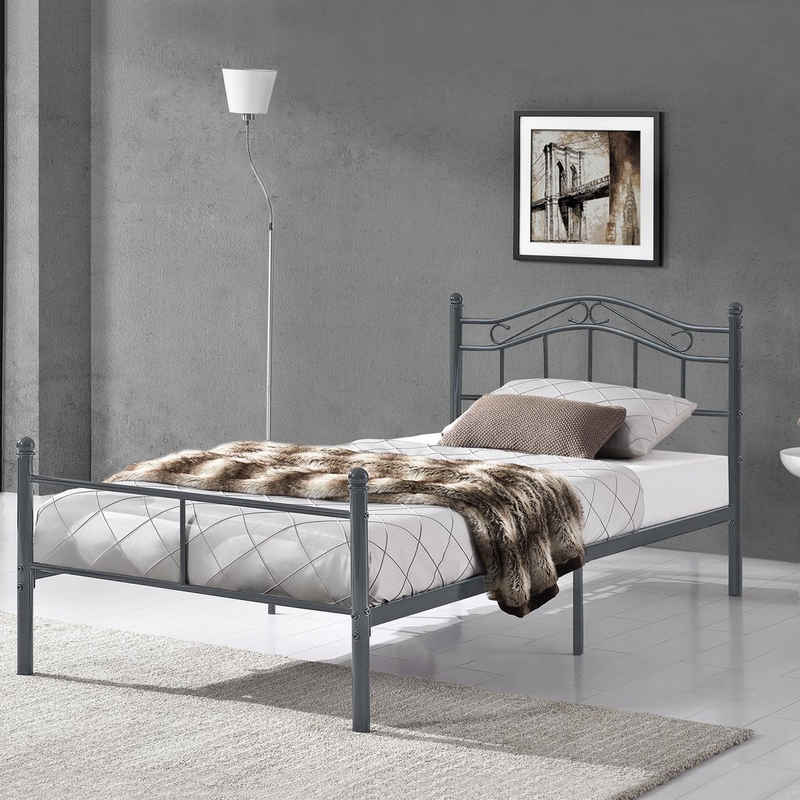 en.casa Metallbett, »Florenz« Einzelbett Jugendbett dunkelgrau in verschiedenen Größen