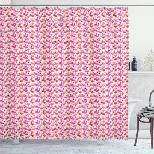 Abakuhaus Duschvorhang »Moderner Digitaldruck mit 12 Haken auf Stoff Wasser Resistent« Breite 175 cm, Höhe 180 cm, Flamingo Exotische Langbeinige Tiere