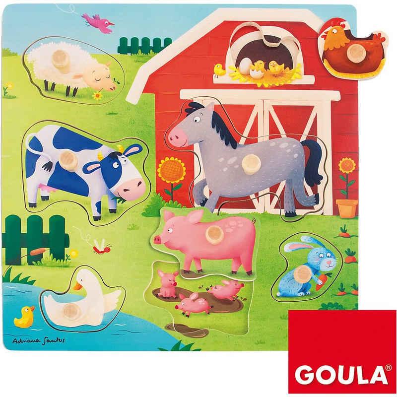 Goula Steckpuzzle »Holzpuzzle Tiermütter- und kinder auf dem«, Puzzleteile