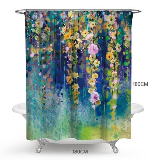 Masbekte Duschvorhang Breite 180 cm, Blumendruck Vorhänge, Badewannenvorhang, Wasserdicht, mit 12 Haken