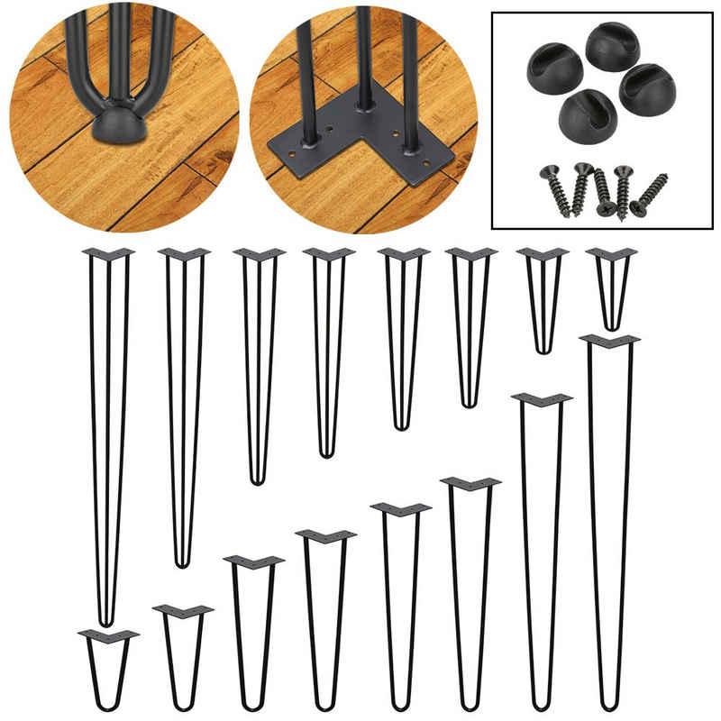 Einfeben Tischbein »4x Tischbeine Hairpin Legs für DIY Couchtisch, Beistelltisch, Konsolentisch, Kommode - 2 oder 3 Streben - 15-72cm - Schwarz«, mit angeschweißt Fußscheibe und Bodenschoner Filzg, Aufblasbar, Hairpin Legs