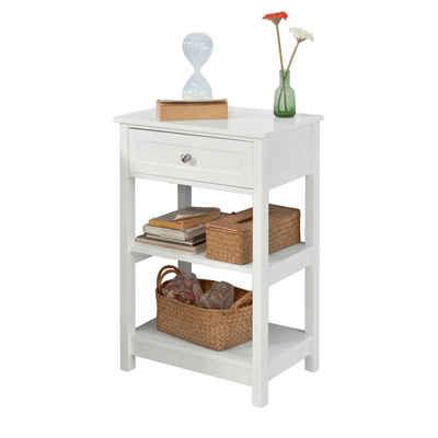 SoBuy Beistelltisch »FBT46«, Nachttisch Couchtisch mit einer Schublade und 2 Ablagen
