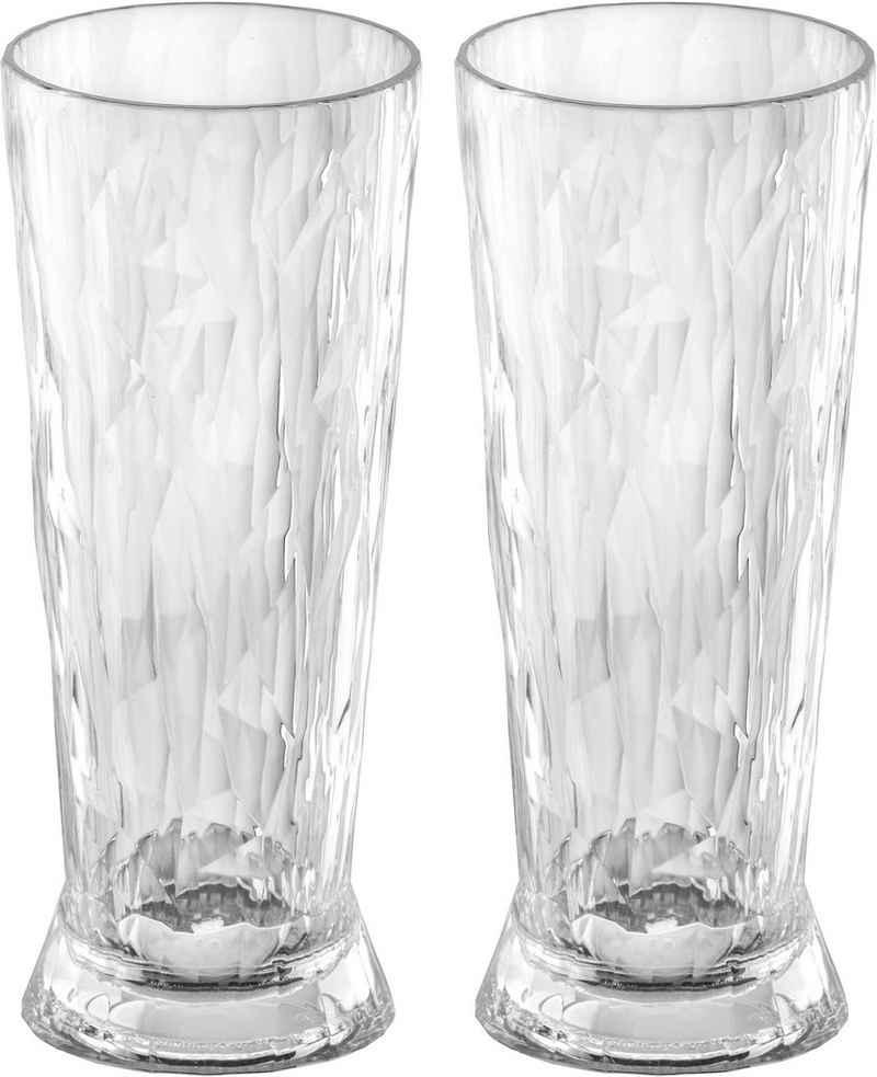 KOZIOL Bierglas »CLUB No. 10«, Kunststoff, tolles Facettendesign, unzerbrechlich, 100% recycelbar, made in Germany, spülmaschinengeeignet, 300ml, 2er-Set