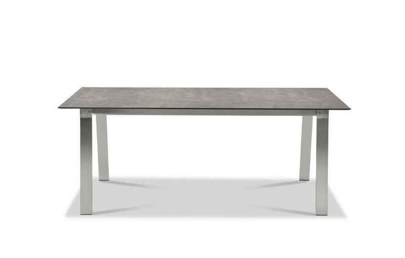 Musterring Gartentisch, Tisch Belgien 200x95 / 76 cm Metallfarben Zement