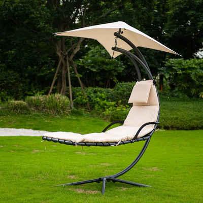 HOME DELUXE Relaxliege »San Remo Schwebeliege«, inkl. Polsterauflage, Sonnendach und komplettem Montagematerial, Relaxsessel Schwingliege Hängematte