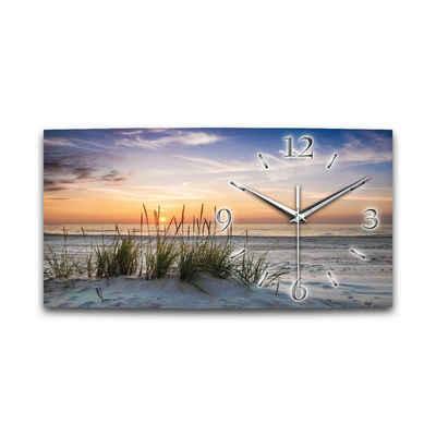 Kreative Feder Funkwanduhr (leise/kein Ticken, Alu-Verbund, 3D-Wölbung, 50x25cm, Sanddüne, Natur, Landschaft, Meer, Strand, WA013FL)