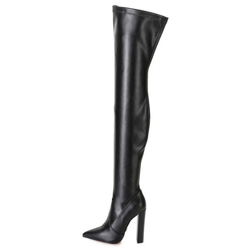 Giaro »Giaro TRINKET Schwarz Black Matte Stiefel Overknee Überkniestiefel Lederstiefel« Overkneestiefel Vegan