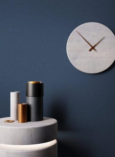 Newroom Vliestapete, Blau Tapete Uni Struktur - Unitapete Einfarbig Modern Textil für Wohnzimmer Schlafzimmer Küche