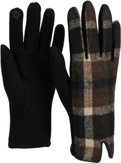 styleBREAKER Strickhandschuhe Touchscreen Handschuhe mit Karo Muster