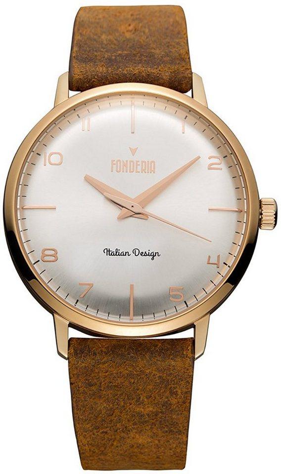fonderia -  Chronograph »UAP6R003US2  Herren Uhr P-6R003US2 Leder«, (Analoguhr), Herren Armbanduhr rund, groß (ca. 41mm), Lederarmband braun