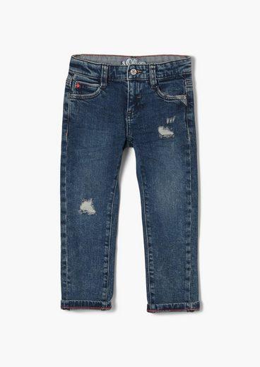s.Oliver 5-Pocket-Jeans »Regular: Straight leg-Jeans« Waschung, Destroyes