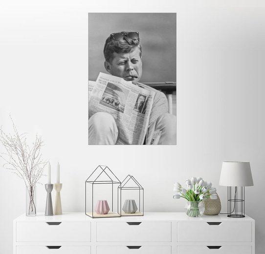 Posterlounge Wandbild, John F. Kennedy mit Zeitung