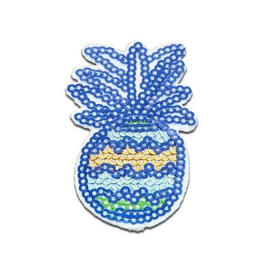Catch the Patch Aufnäher, Kunststoff, Ananas Obst Frucht mit Pailletten - Aufnäher, Bügelbild, Aufbügler, Applikationen, Patches, Flicken, zum aufbügeln, Größe: 6,5 x 3,8 cm
