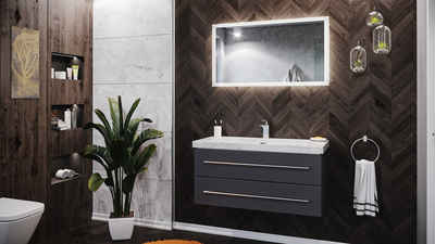 Emotion Waschtisch »Badmöbel Marmor Carrara White Damo 100 cm 1 Hahnloch anthrazit & Spiegel«