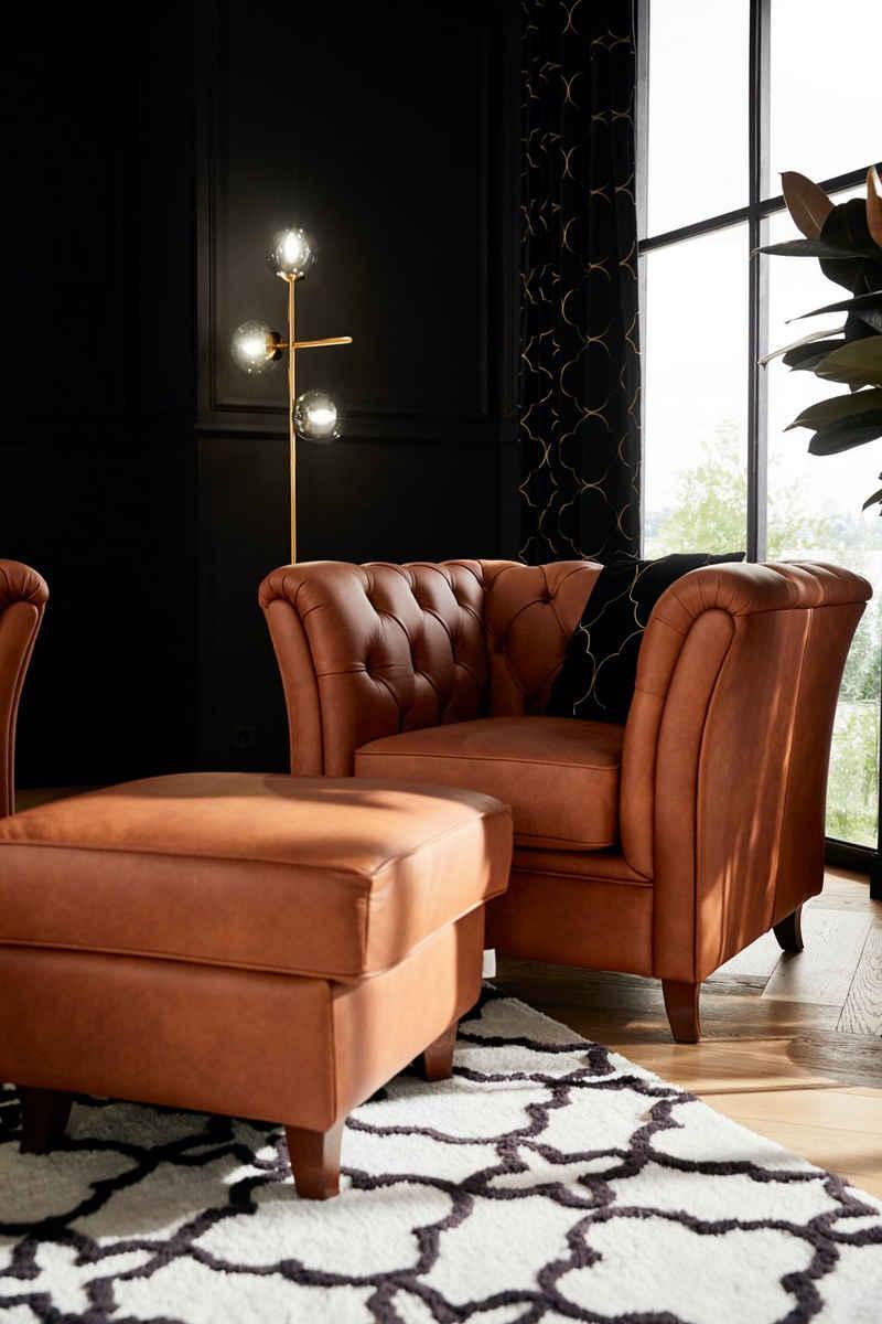 Guido Maria Kretschmer Home&Living Chesterfield-Sessel »Noblessy«, mit echter Chesterfield-Knopfheftung, hochwertige Verarbeitung, Samtoptik mich changierender Optik