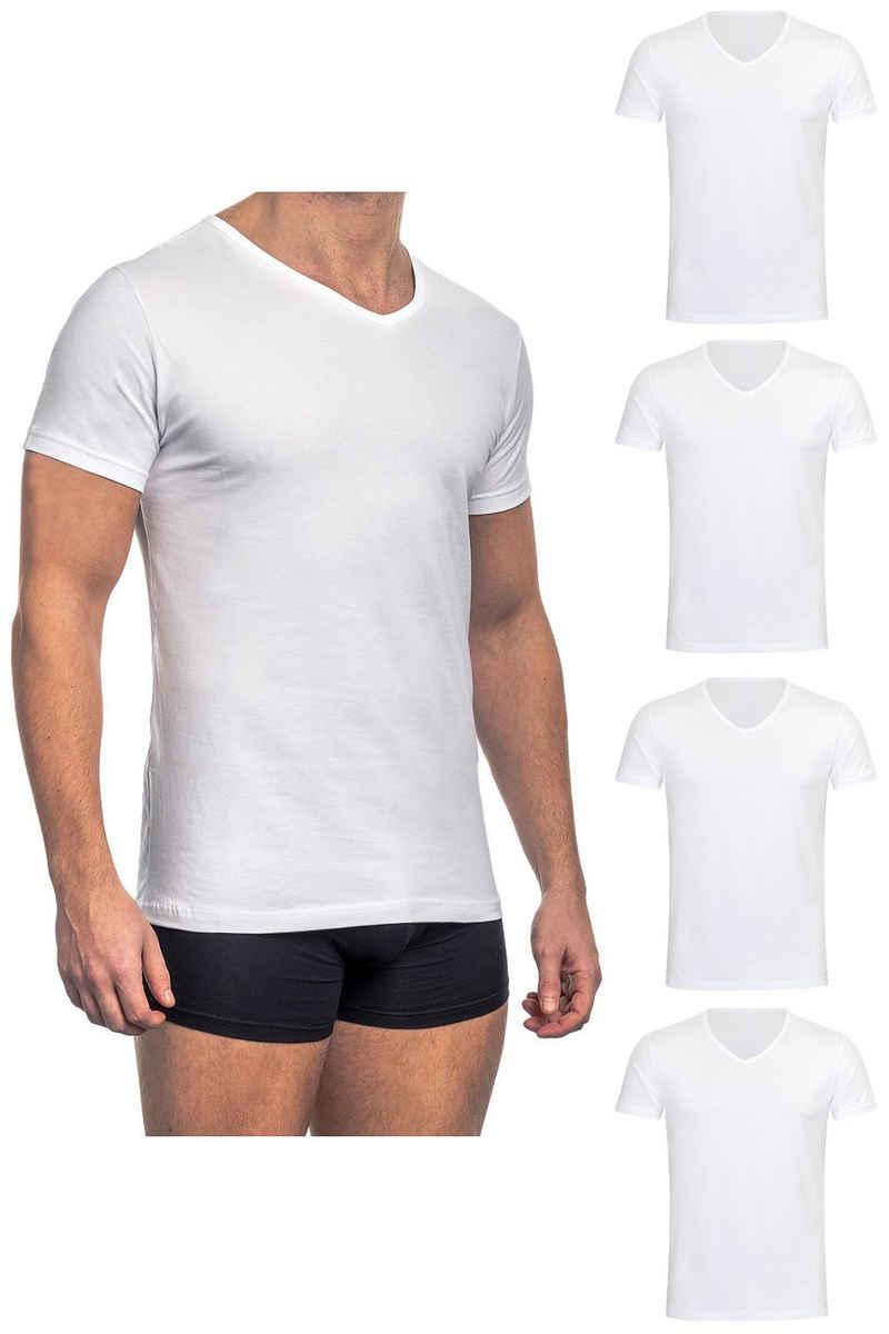 Barrio 13 Unterhemd »T-Shirt Business mit Kurzarm und V-Ausschnitt für Herren« (4 Stück), Feinripp aus 100% Baumwolle