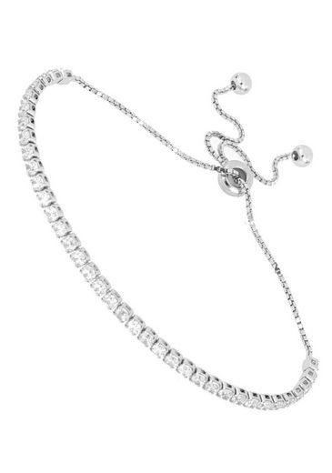 Firetti Tennisarmband »schlicht und mit eingefasstem Zwischenelement, hochglanzpoliert, rhodiniert«, mit Zirkonia