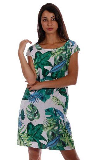 "Charis Moda Sommerkleid »""Botanica"" Leinenkleid Kurzarm im Exotic Leaves Print Design«"