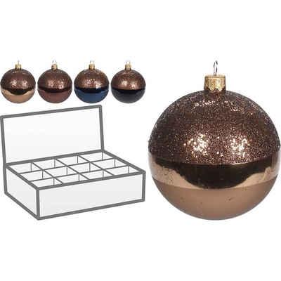 Koopmann Weihnachtsbaumkugel »12-tlg. Glas-Weihnachtskugel Set Ø8cm«