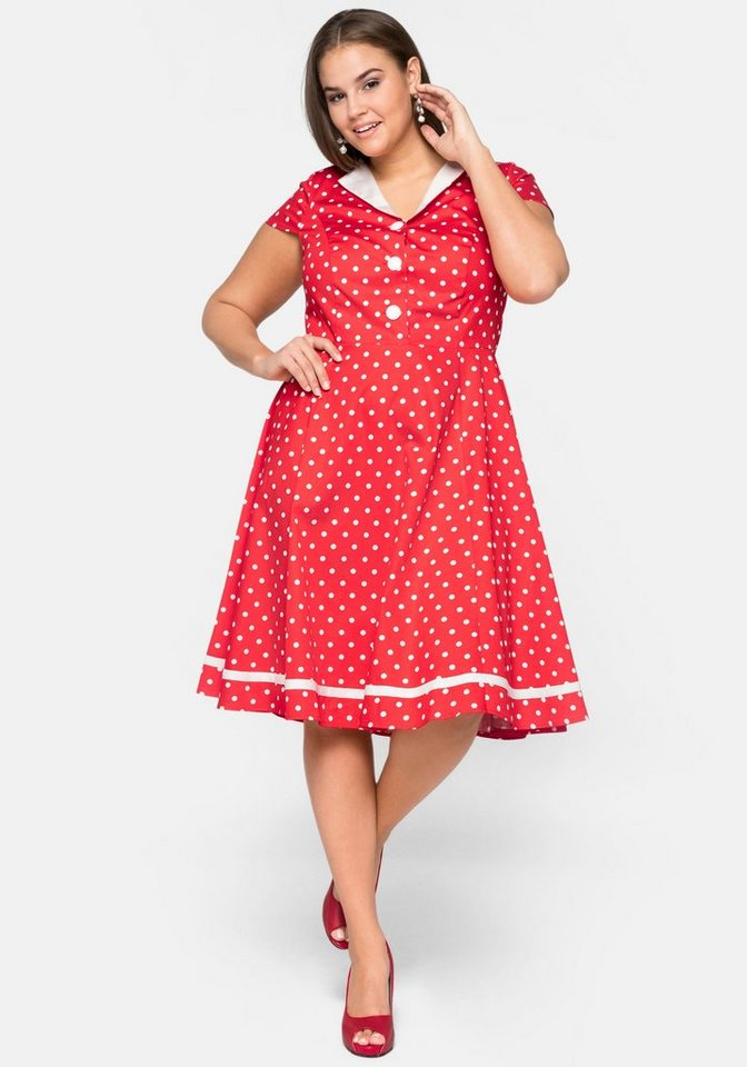 Festtagsmode - sheego by Joe Browns Cocktailkleid Rockabilly Style mit Polka Dots ›  - Onlineshop OTTO