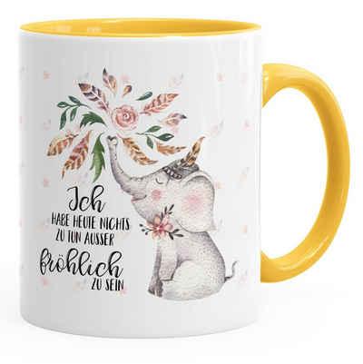 MoonWorks Tasse »Kaffeetasse Elefant Ich habe heute nichts zu tun außer fröhlich zu sein Spruch-Tasse Geschenk MoonWorks® Innenfarbe«, Keramik
