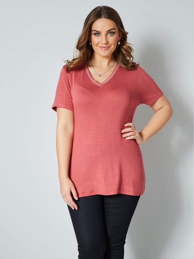 Janet & Joyce by Happy Size Shirt mit metallisiertem Garn
