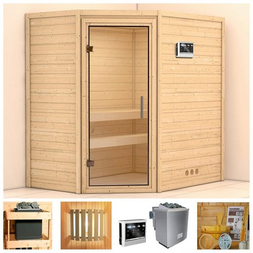 KONIFERA Sauna »Walram«, BxTxH: 196 x 144 x 198 cm, 38 mm, 9 kW Bio-Ofen mit ext. Steuerung