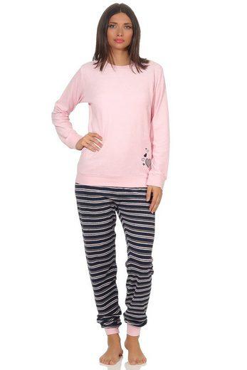 RELAX by Normann Pyjama »Eleganter Damen Frottee Pyjama Schlafanzug mit Bündchen und Herz Motiv - 291 201 13 570«