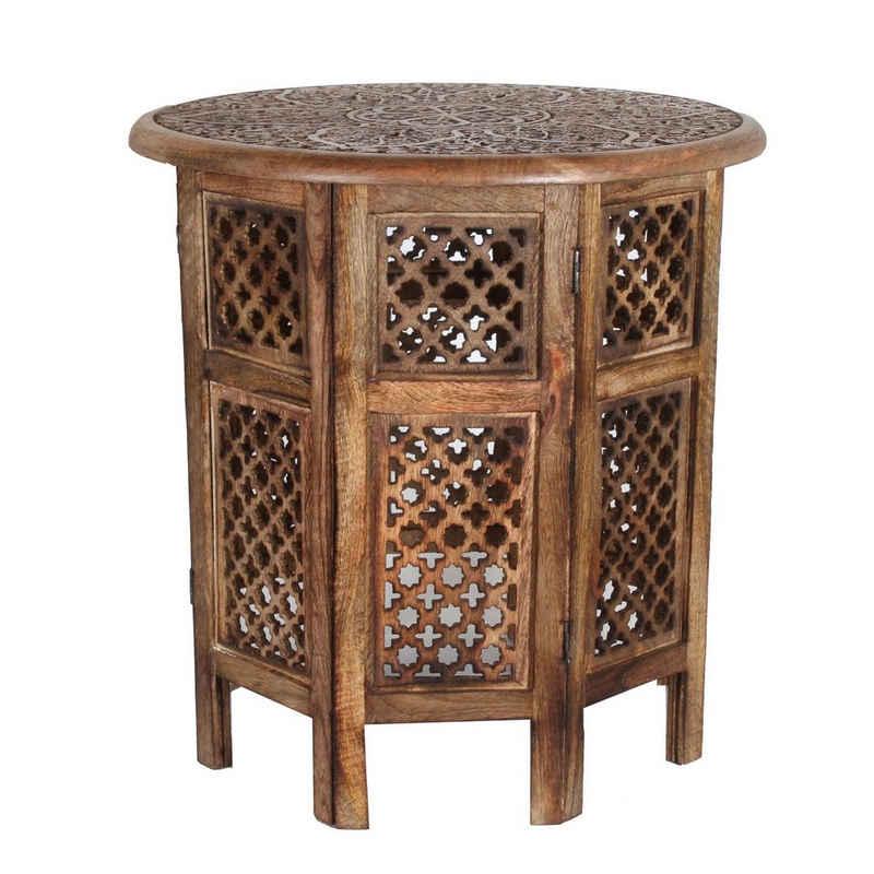 Casa Moro Beistelltisch »Orientalischer Beistelltisch Hamza Ø 52 cm rund H 54 cm aus Mango Massivholz braun handgeschnitzt, Handmade Couchtisch Vintage Sofatisch, NH-5326-A«, Kunsthandwerk