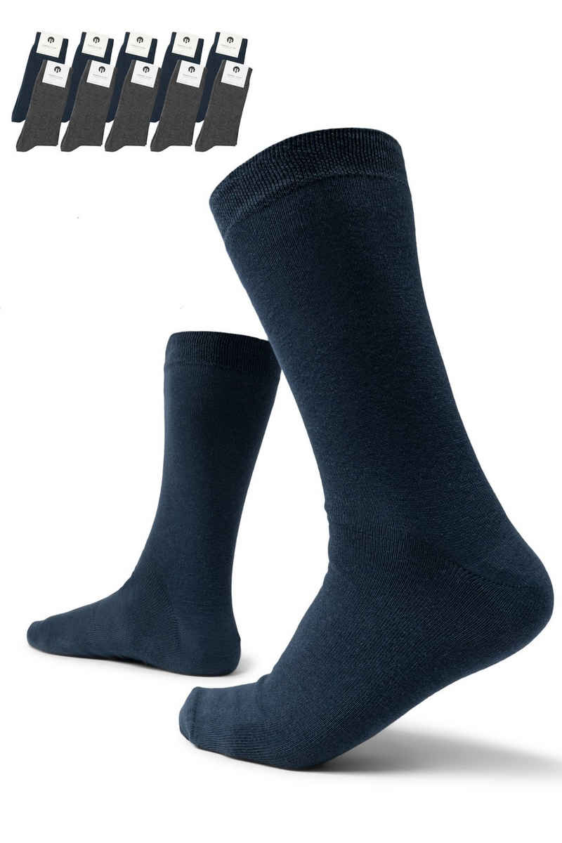 Burnell & Son Businesssocken »Socken für Damen & Herren« (Set, 10-Paar) mit Komfortbund aus Baumwolle