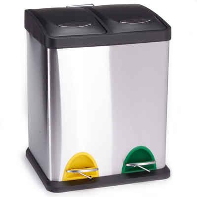 MSV Mülltrennsystem »Treteimer Mülltrennung«, mit Deckel, 16 L (2x 8 L), mit Inneneimer, Treteimer, Edelstahl