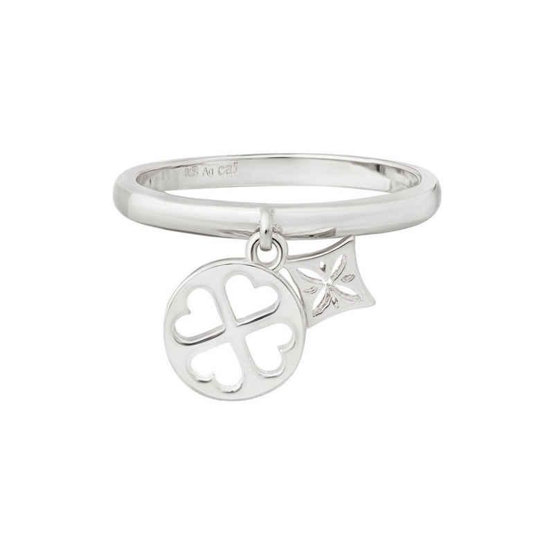 CAÏ Silberring »925 Silber rhodiniert Anhänger Cut-outs«, mit zwei Anhängern