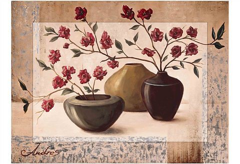 Kunstdruck, Home affaire, »Andres: Silver framed cherry blossoms«, 81/60 cm in braun