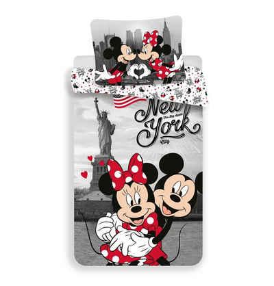 Kinderbettwäsche »Mickey und Minnie in New York«, Disney Minnie Mouse, 135-140x200 cm, 100% baumwolle