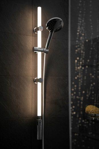 WENKO Brausegarnitur »LED«, Set, 3 tlg., Duschstangen Set mit beleuchteter LED Duschstange 74cm in Warm-Weiß, Duschsystem, Komplettset mit Anti Kalk Duschkopf und Edelstahl Duschschlauch 150cm, mit warmweißer LED-Beleuchtung, integrierter Bewegungsmelder, Höhe 74 cm