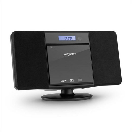 ONECONCEPT »V-13 Stereoanlage CD MP3 USB Radio Wecker schwarz Wandmontage« Kompaktanlage (UKW Radio, 0 W)