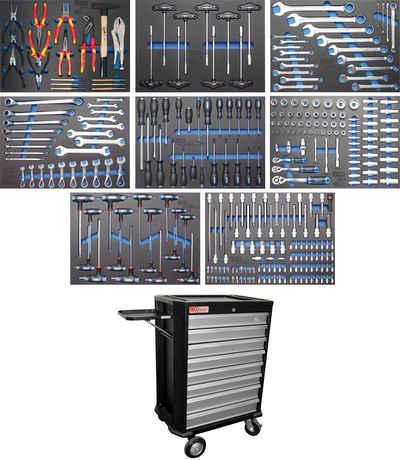 BGS Werkstattwagen, befüllt, 296-tlg. Werkzeugset, (296-tlg), 8 Schubladen
