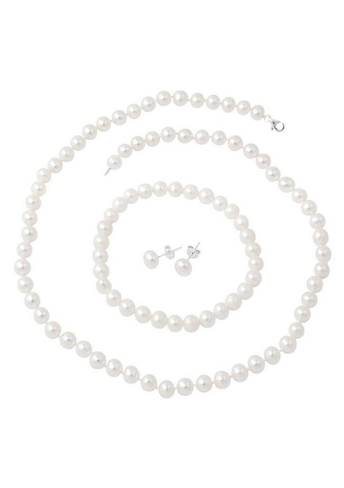 firetti Schmuckset: Kette, Armband und Ohrstecker mit Perlen (4tlg.) in silberfarben